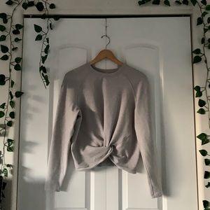 LuluLemon Light Grey Crescent Cropped Knot Shirt
